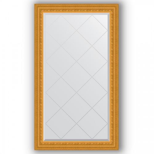 Зеркало с гравировкой в багетной раме - сусальное золото 80 mm BY 4224