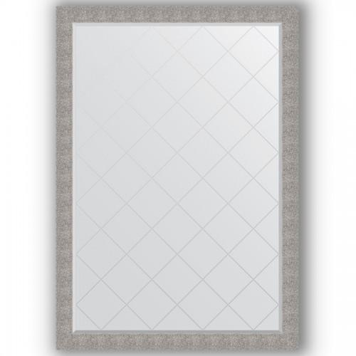 Зеркало с гравировкой в багетной раме - чеканка серебряная 90 mm BY 4496