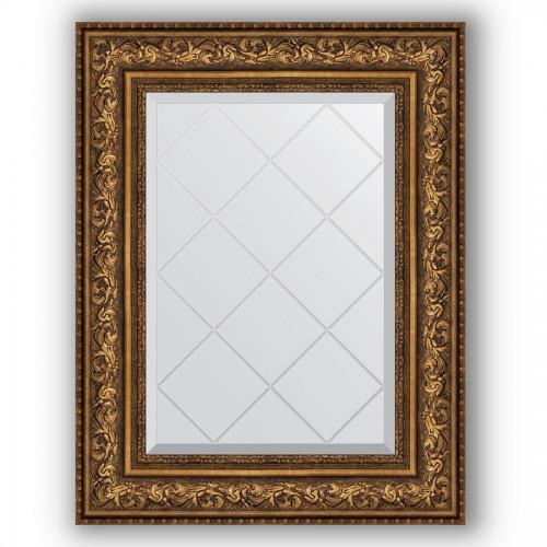 Зеркало с гравировкой в багетной раме - виньетка состаренная бронза 109 mm BY 4040