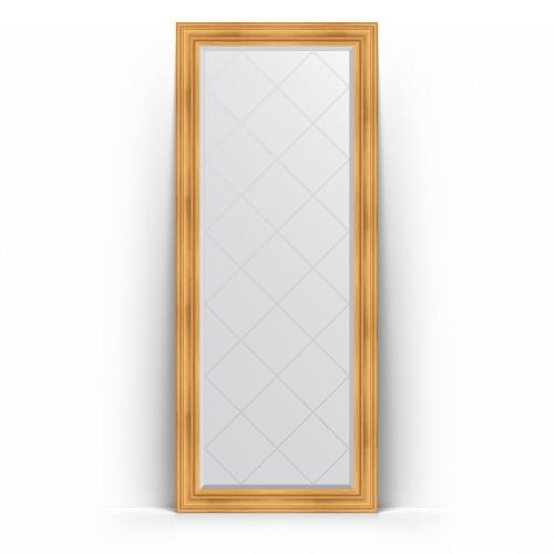 Зеркало напольное с гравировкой в багетной раме - травленое золото 99 mm BY 6327