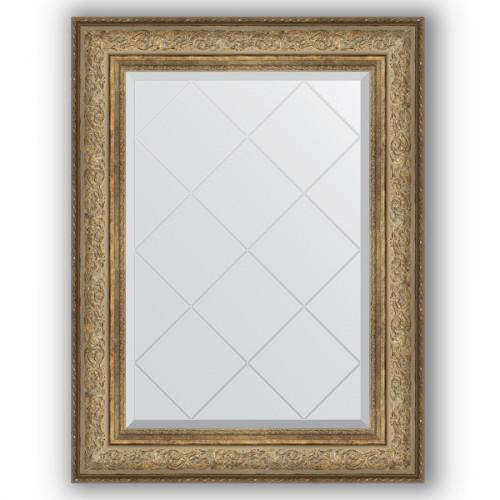 Зеркало с гравировкой в багетной раме - виньетка античная бронза 109 mm BY 4124