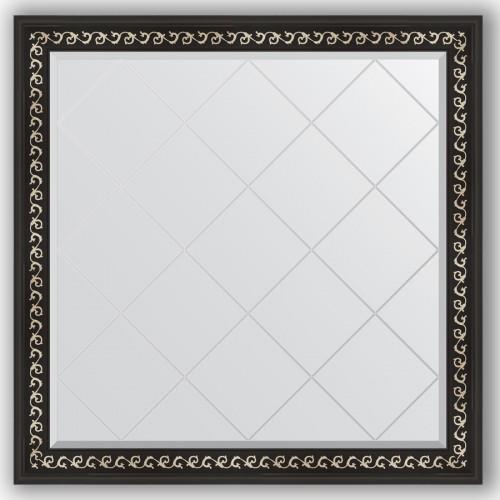 Зеркало с гравировкой в багетной раме - черный ардеко 81 mm BY 4440