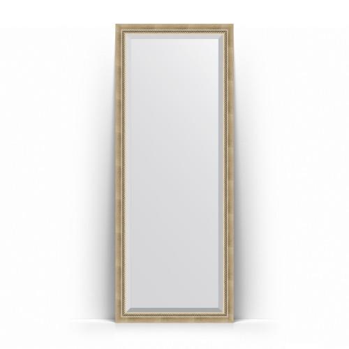 Зеркало напольное с фацетом в багетной раме - состаренное серебро с плетением 70 mm BY 6102