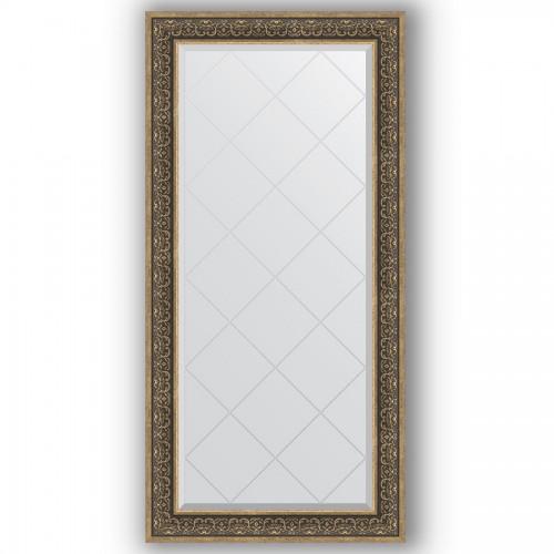 Зеркало с гравировкой в багетной раме - вензель серебряный 101 mm BY 4293