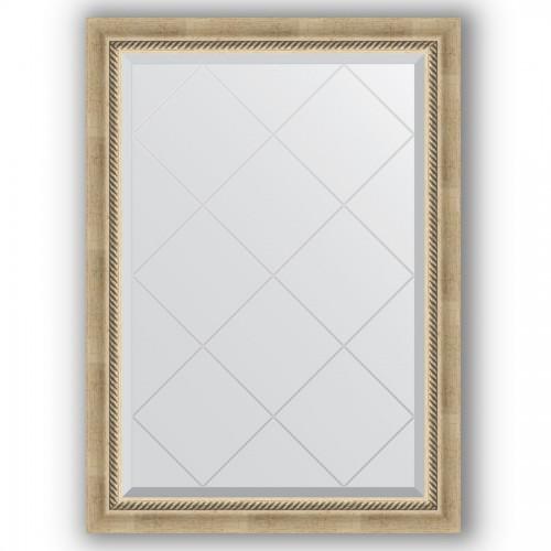 Зеркало с гравировкой в багетной раме - состаренное серебро с плетением 70 mm BY 4175
