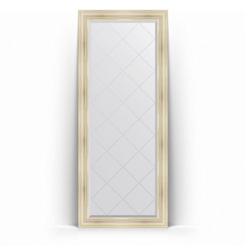 Зеркало напольное с гравировкой в багетной раме - травленое серебро 99 mm BY 6328