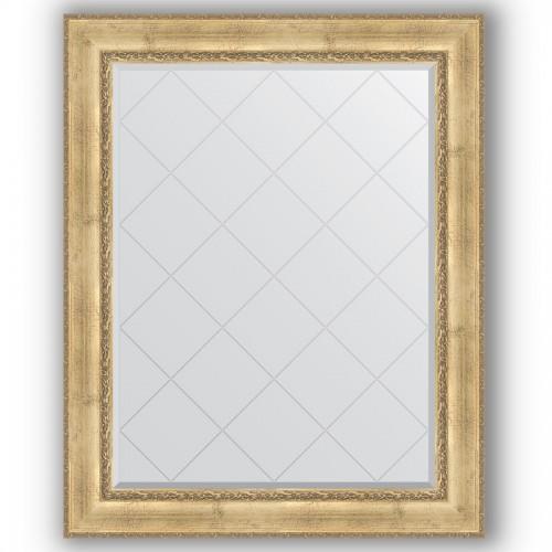 Зеркало с гравировкой в багетной раме - состаренное серебро с орнаментом 120 mm BY 4385