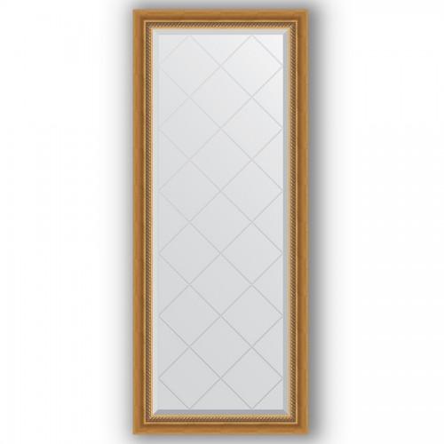 Зеркало с гравировкой в багетной раме - состаренное золото с плетением 70 mm BY 4131