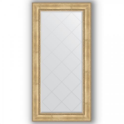 Зеркало с гравировкой в багетной раме - состаренное серебро с орнаментом 120 mm BY 4299