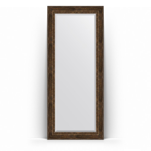 Зеркало напольное с фацетом в багетной раме - состаренное дерево с орнаментом 120 mm BY 6140