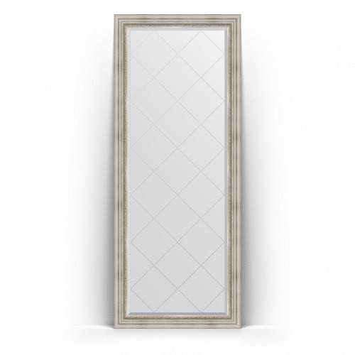 Зеркало напольное с гравировкой в багетной раме - римское серебро 88 mm BY 6318