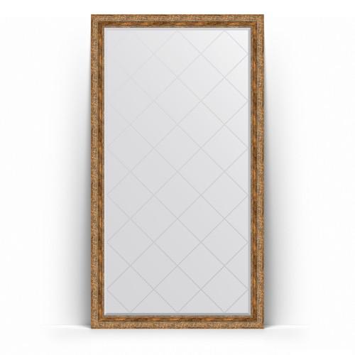 Зеркало напольное с гравировкой в багетной раме - виньетка античная бронза 85 mm BY 6354