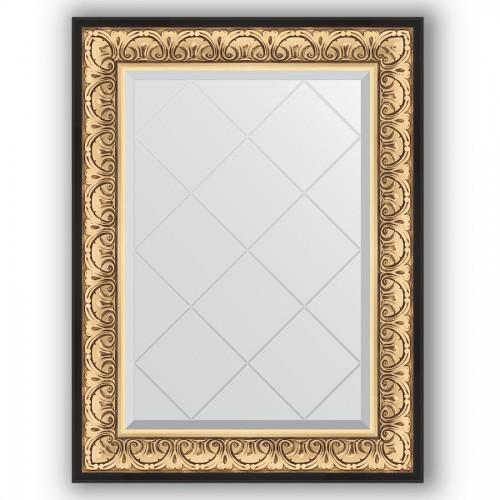 Зеркало с гравировкой в багетной раме - барокко золото 106 mm BY 4122