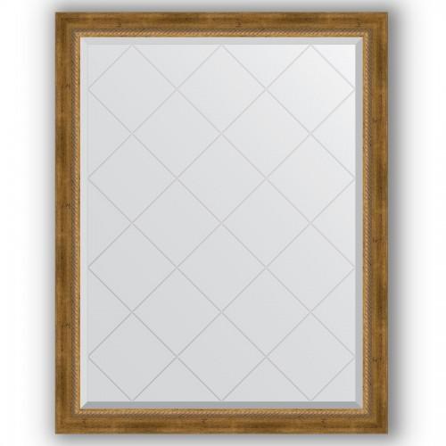 Зеркало с гравировкой в багетной раме - состаренная бронза с плетением 70 mm BY 4348