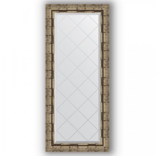 Зеркало с гравировкой в багетной раме - серебряный бамбук 73 mm BY 4050