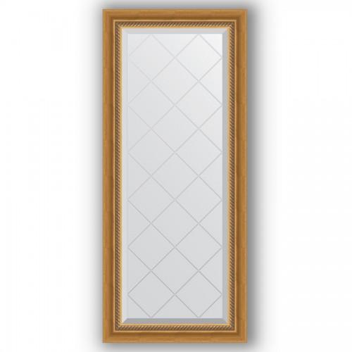 Зеркало с гравировкой в багетной раме - состаренное золото с плетением 70 mm BY 4045