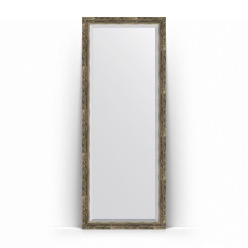 Зеркало напольное с фацетом в багетной раме - старое дерево с плетением 70 mm BY 6105
