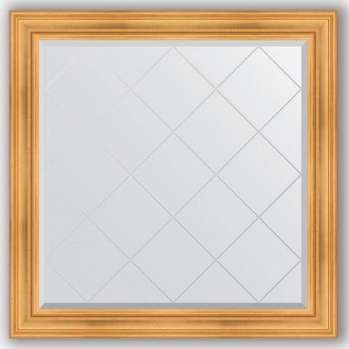 Зеркало с гравировкой в багетной раме - травленое золото 99 mm BY 4460