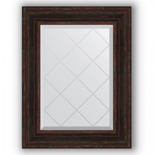 Зеркало с гравировкой в багетной раме - темный прованс 99 mm BY 4033