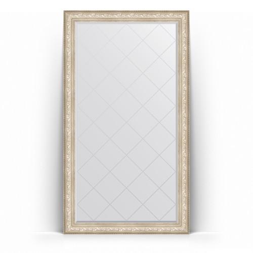 Зеркало напольное с гравировкой в багетной раме - виньетка серебро 109 mm BY 6376