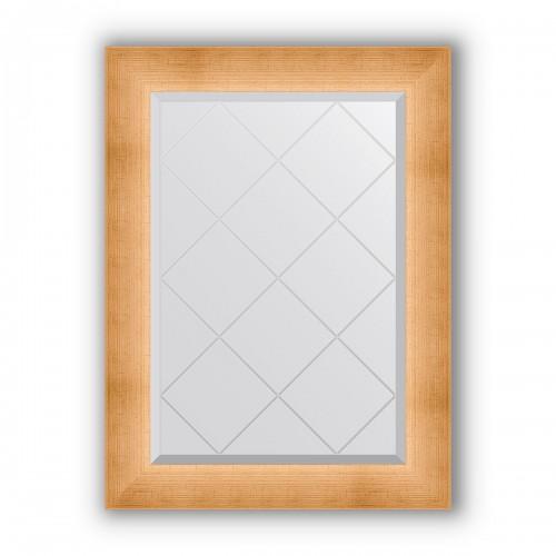 Зеркало с гравировкой в багетной раме - травленое золото 87 mm BY 4519