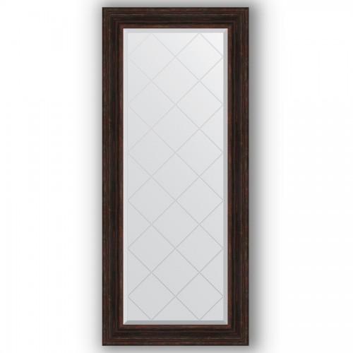 Зеркало с гравировкой в багетной раме - темный прованс 99 mm BY 4162