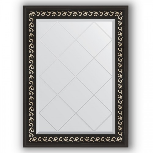 Зеркало с гравировкой в багетной раме - черный ардеко 81 mm BY 4096