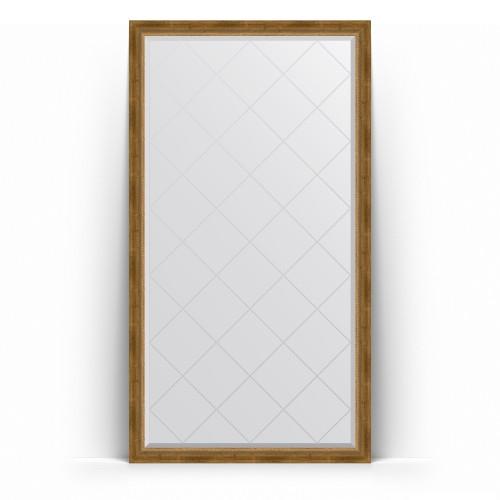 Зеркало напольное с гравировкой в багетной раме - состаренная бронза с плетением 70 mm BY 6343