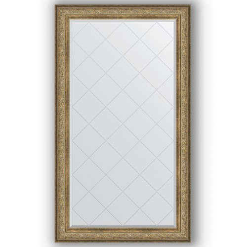 Зеркало с гравировкой в багетной раме - виньетка античная бронза 109 mm BY 4425