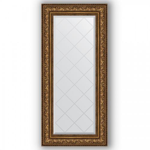 Зеркало с гравировкой в багетной раме - виньетка состаренная бронза 109 mm BY 4083