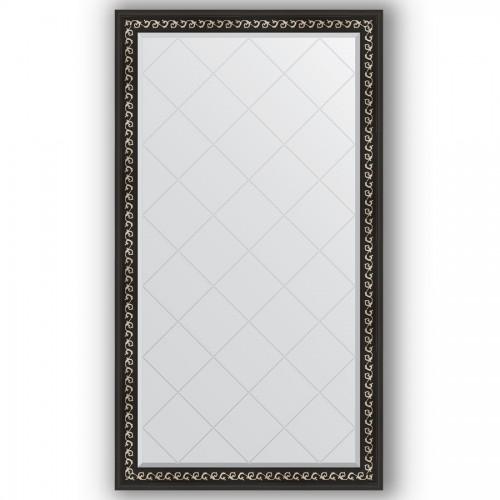 Зеркало с гравировкой в багетной раме - черный ардеко 81 mm BY 4397