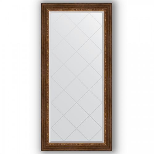 Зеркало с гравировкой в багетной раме - римская бронза 88 mm BY 4277