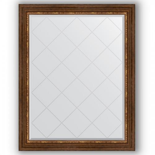 Зеркало с гравировкой в багетной раме - римская бронза 88 mm BY 4363