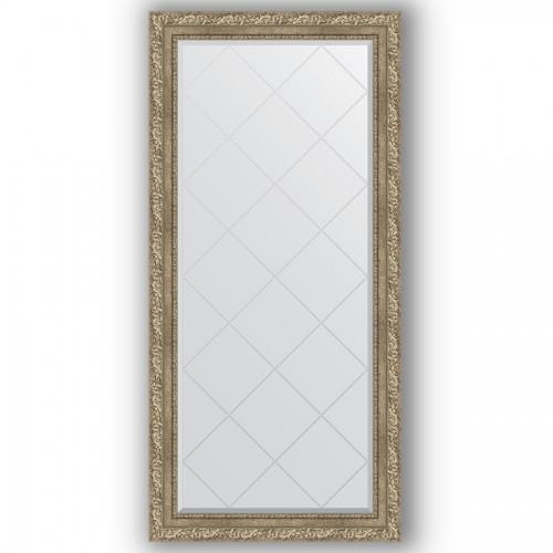 Зеркало с гравировкой в багетной раме - виньетка античное серебро 85 mm BY 4272