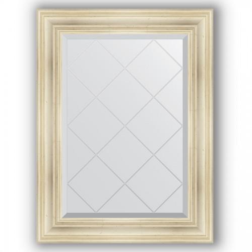 Зеркало с гравировкой в багетной раме - травленое серебро 99 mm BY 4117