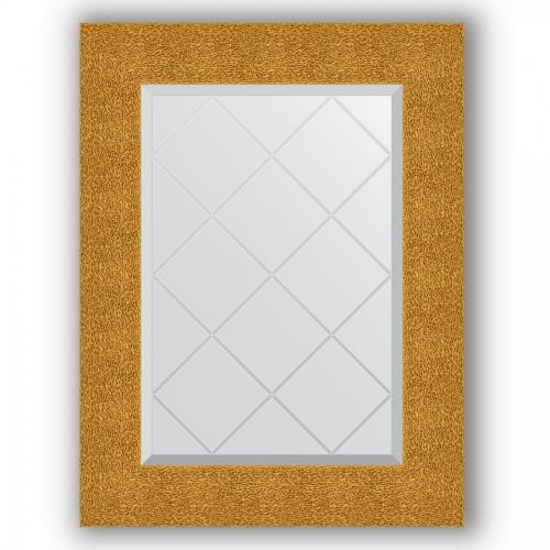 Зеркало с гравировкой в багетной раме - чеканка золотая 90 mm BY 4022