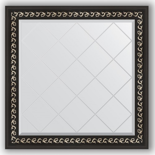 Зеркало с гравировкой в багетной раме - черный ардеко 81 mm BY 4311