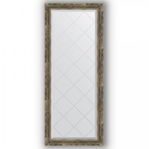 Зеркало с гравировкой в багетной раме - старое дерево с плетением 70 mm BY 4135