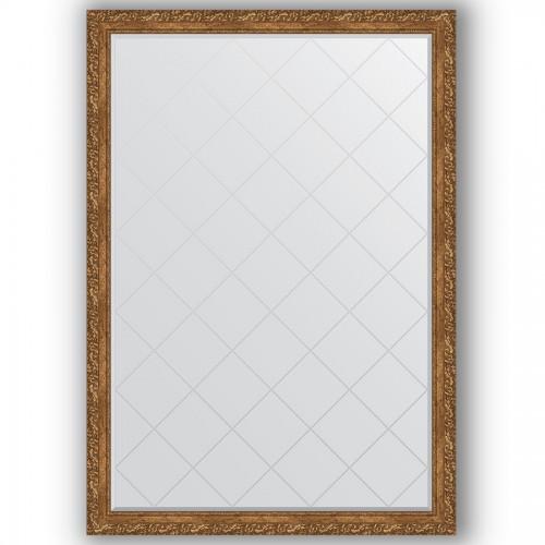 Зеркало с гравировкой в багетной раме - виньетка бронзовая 85 mm BY 4486