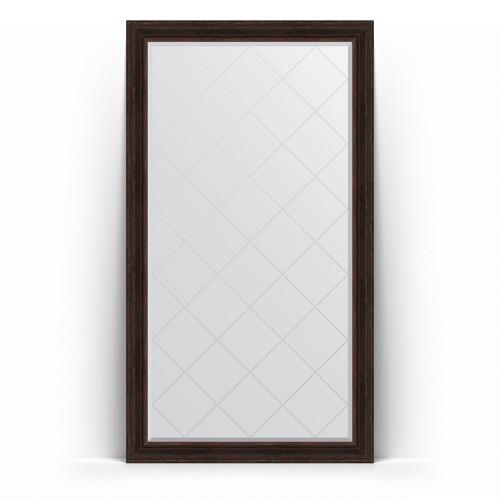 Зеркало напольное с гравировкой в багетной раме - темный прованс 99 mm BY 6370