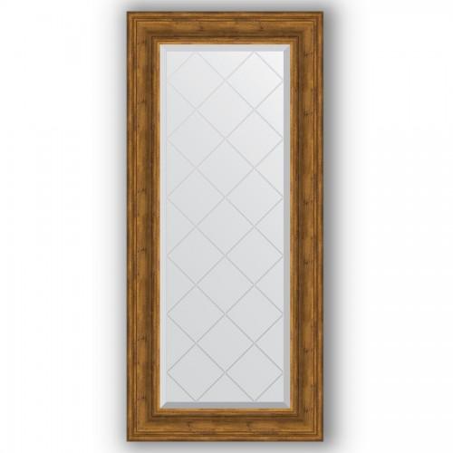 Зеркало с гравировкой в багетной раме - травленая бронза 99 mm BY 4075