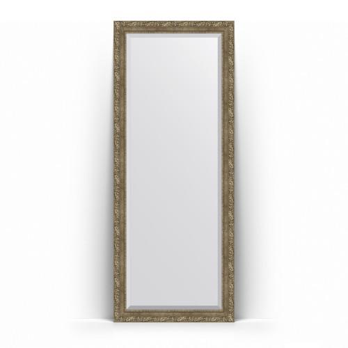 Зеркало напольное с фацетом в багетной раме - виньетка античная латунь 85 mm BY 6115