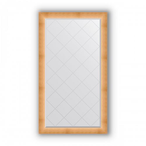 Зеркало с гравировкой в багетной раме - травленое золото 87 mm BY 4526