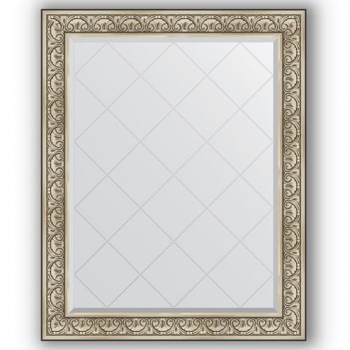 Зеркало с гравировкой в багетной раме - барокко серебро 106 mm BY 4381