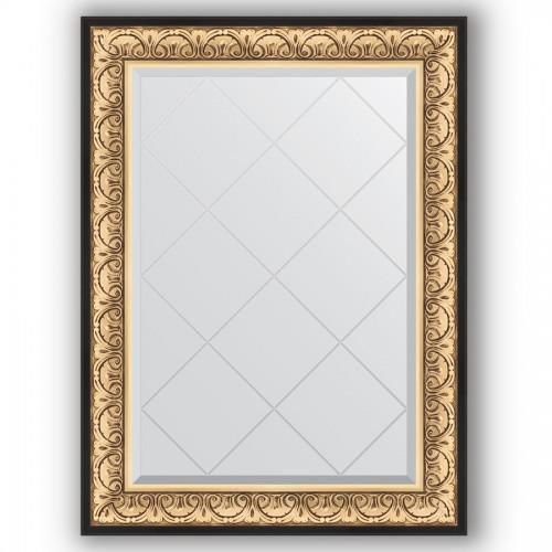 Зеркало с гравировкой в багетной раме - барокко золото 106 mm BY 4208