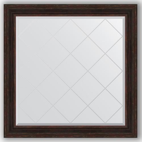 Зеркало с гравировкой в багетной раме - темный прованс 99 mm BY 4463