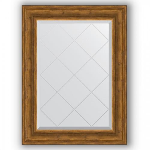 Зеркало с гравировкой в багетной раме - травленая бронза 99 mm BY 4118