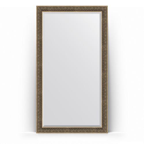 Зеркало напольное с фацетом в багетной раме - вензель серебряный 101 mm BY 6172