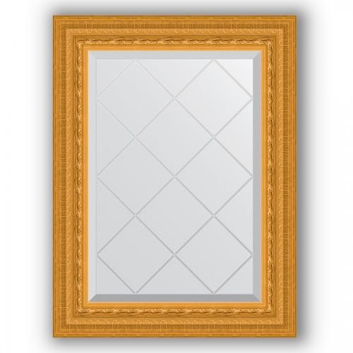 Зеркало с гравировкой в багетной раме - сусальное золото 80 mm BY 4009
