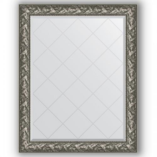 Зеркало с гравировкой в багетной раме - византия серебро 99 mm BY 4372